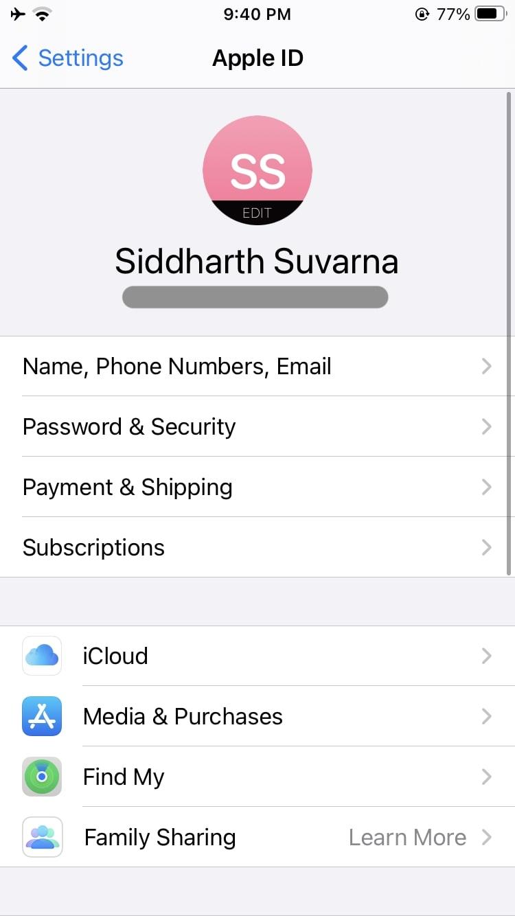 iCloud settings iPhone