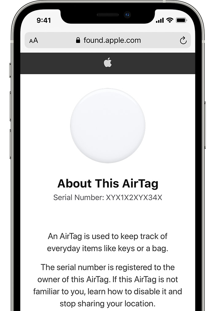 AirTag serial number tutorial: An image showing an iPhone 12 Pro with Apples' Found website open in Safari and sapling the serial number of an unknown AirTag