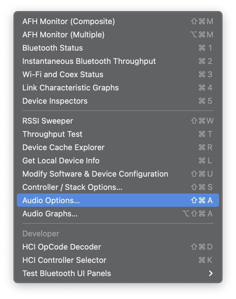 Bluetooth explorer Audio Options
