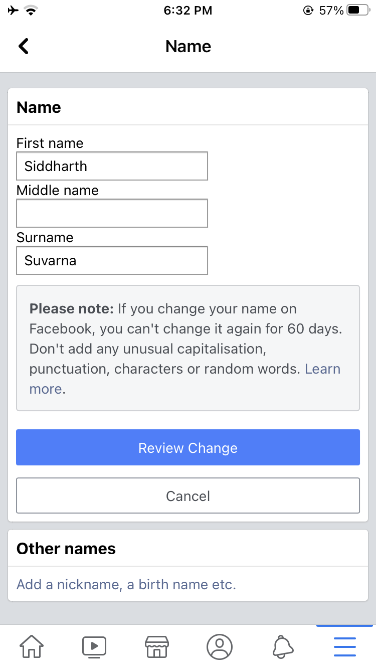 Change Facebook Name iPhone