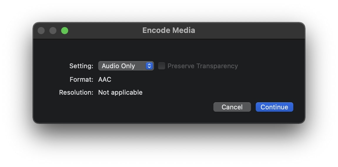 Choose audio only