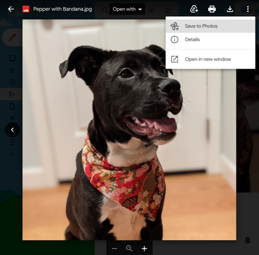 A screenshot showing a Gmail image attachment along with the Save to Google Photos option selected in the contextual menu