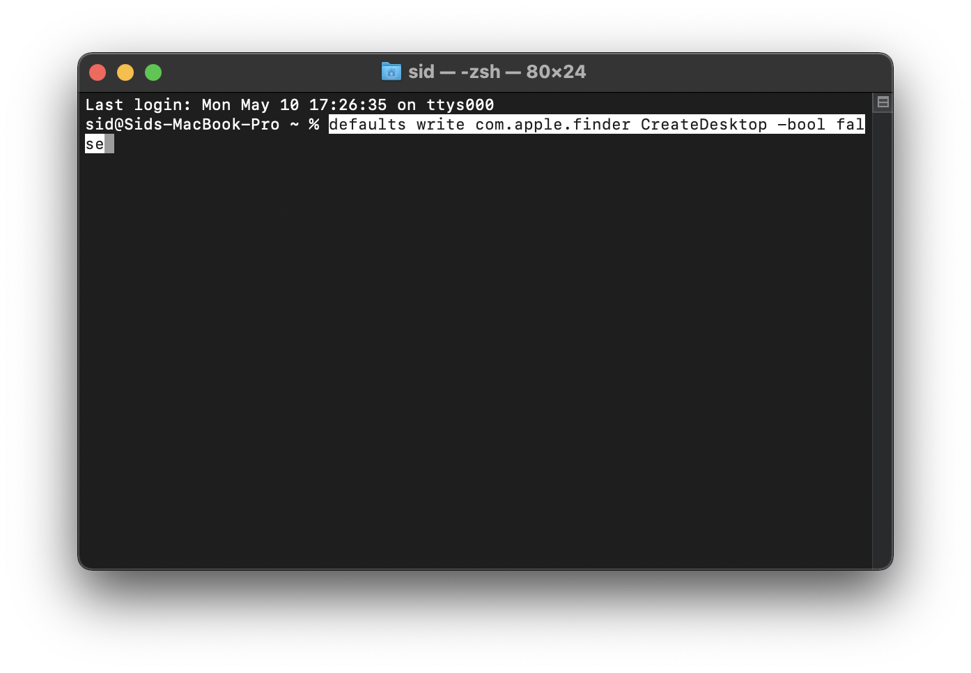 Hide desktop icons Mac Terminal