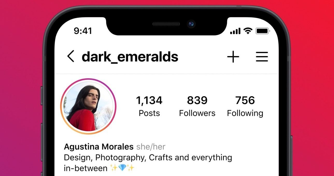 An image showing pronouns listed on the Instagram profile on iPhone