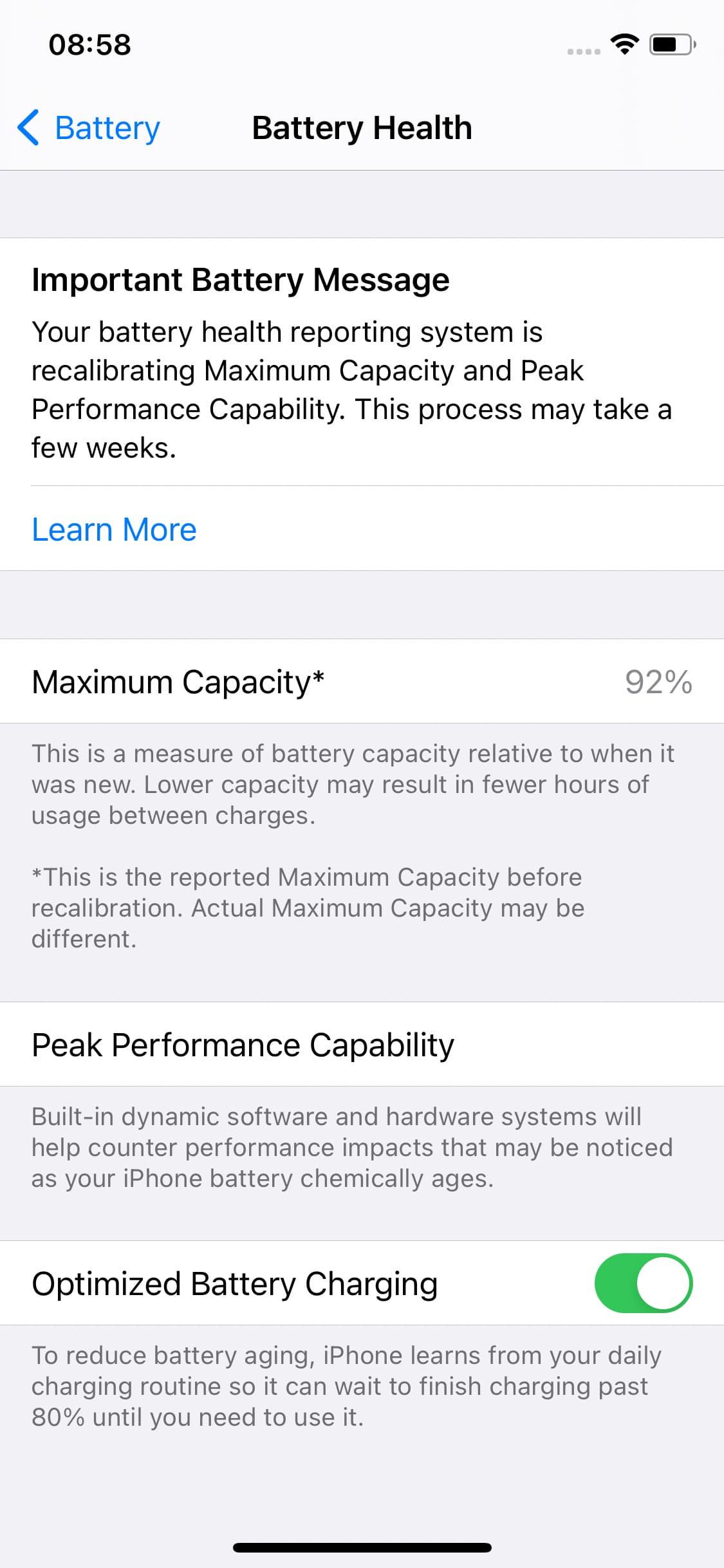 Recalibrating iPhone battery