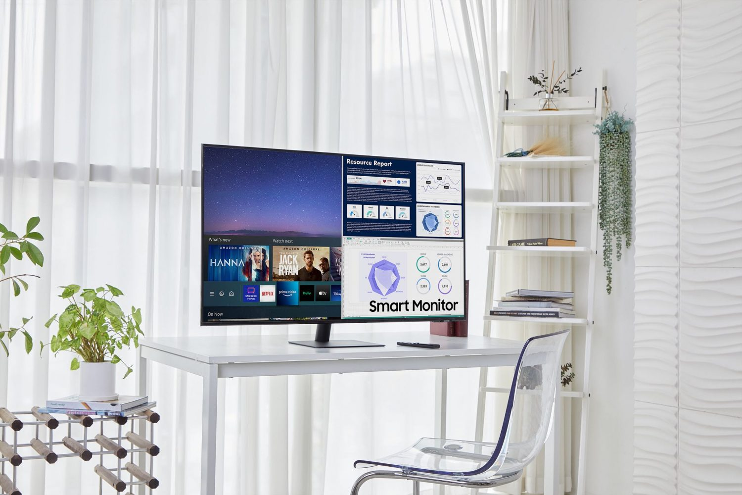 Samsung's promotional photograph depicting the new 43-inch M7 Smart Monitor on a desk