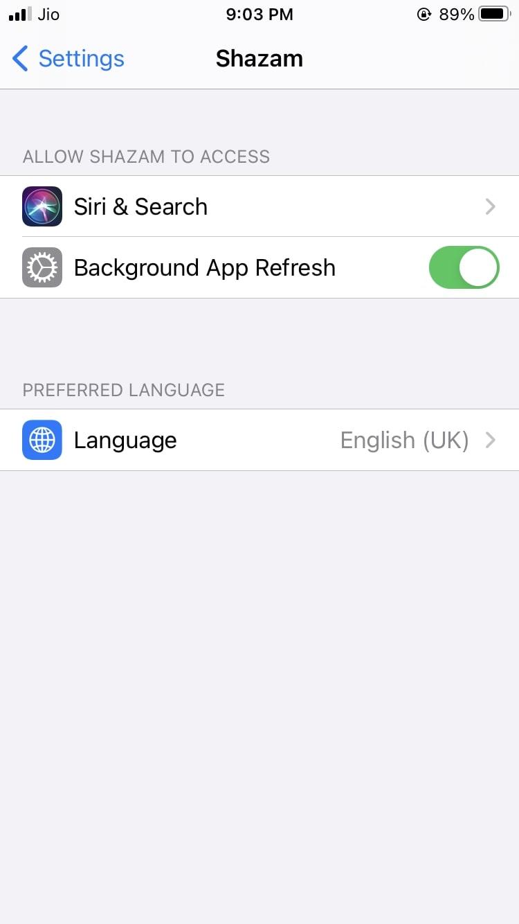Shazam Language setting