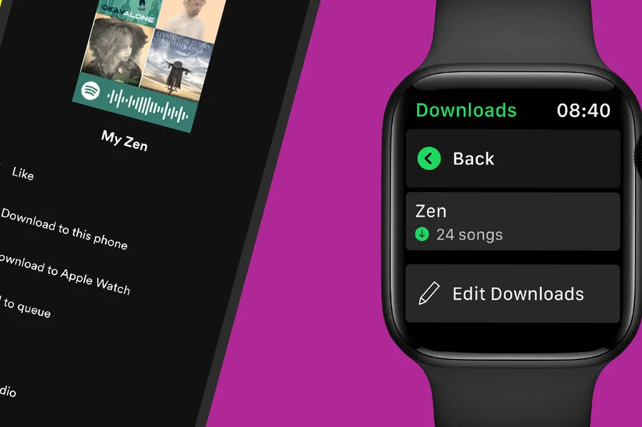 A promotional image from Spotify promoting offline functionality in the tvOS app wit the ability to download songs, playlists and podcasts on Apple Watch