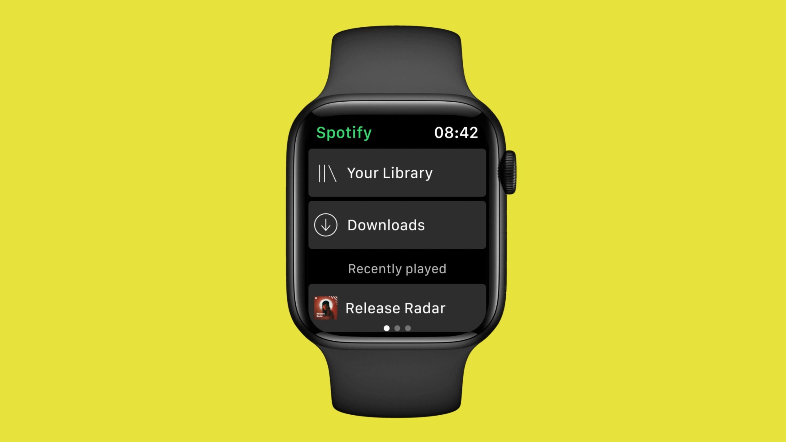 An image showing an Apple Watch set against a yellow background. The watch is shown running the Spotify app in offline mode with the Downloads section visible in the interface.
