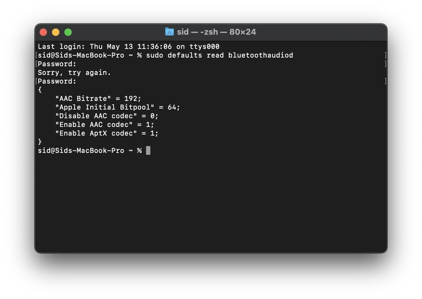 enable AAC_aptX Terminal