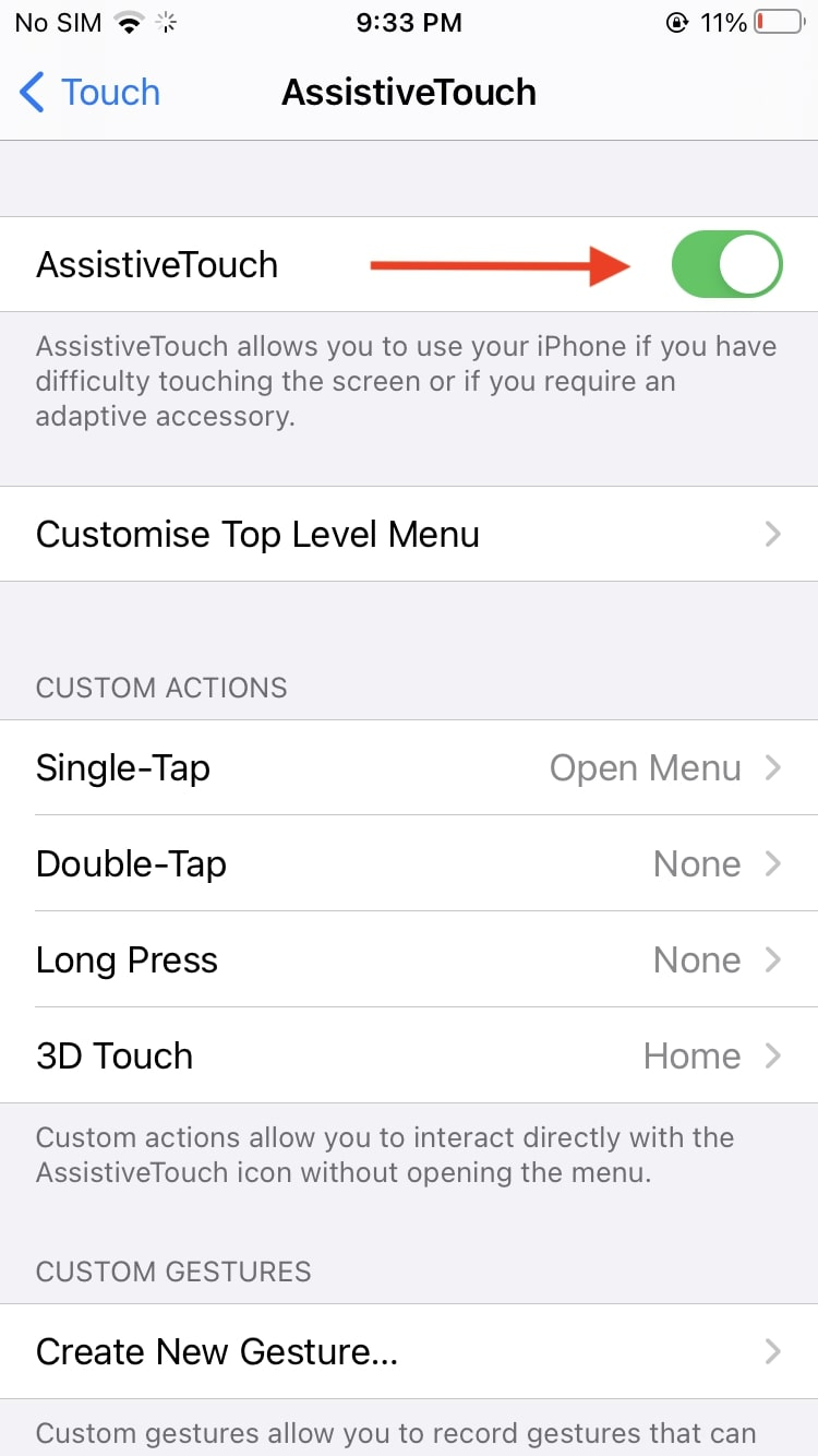 Enable AssistiveTouch iPhone