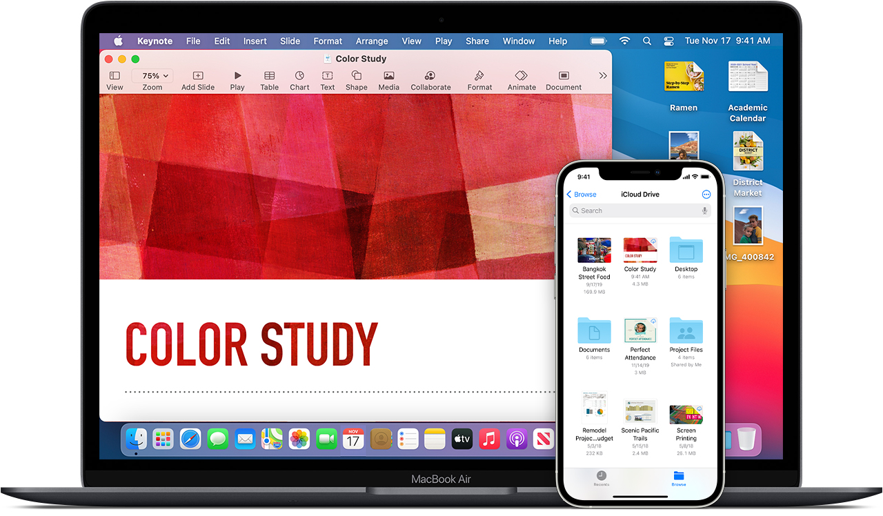 A promotional image showing Pages on a MacBook Air along with iCloud Drive on an iPhone 12.