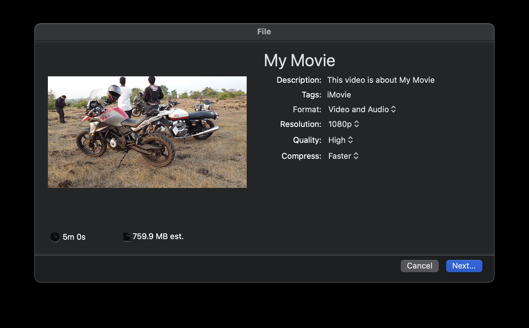 iMovie reduce video file size