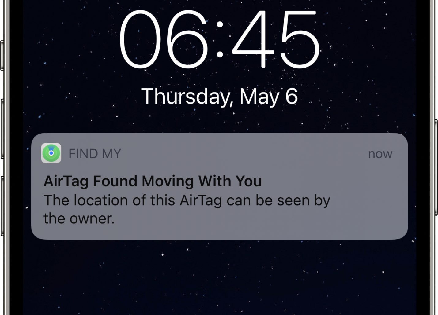 """A screenshot showing an """"AirTag Found Moving With You"""" safety notification from Apple Find My app warning the user about possible unwanted tracking"""