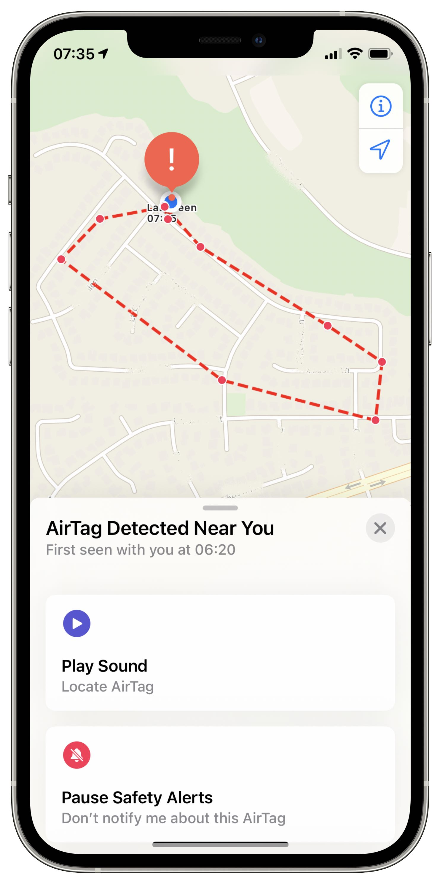 A screenshot of the Apple Find MY app showing the safety options when an unknown AirTag is detected