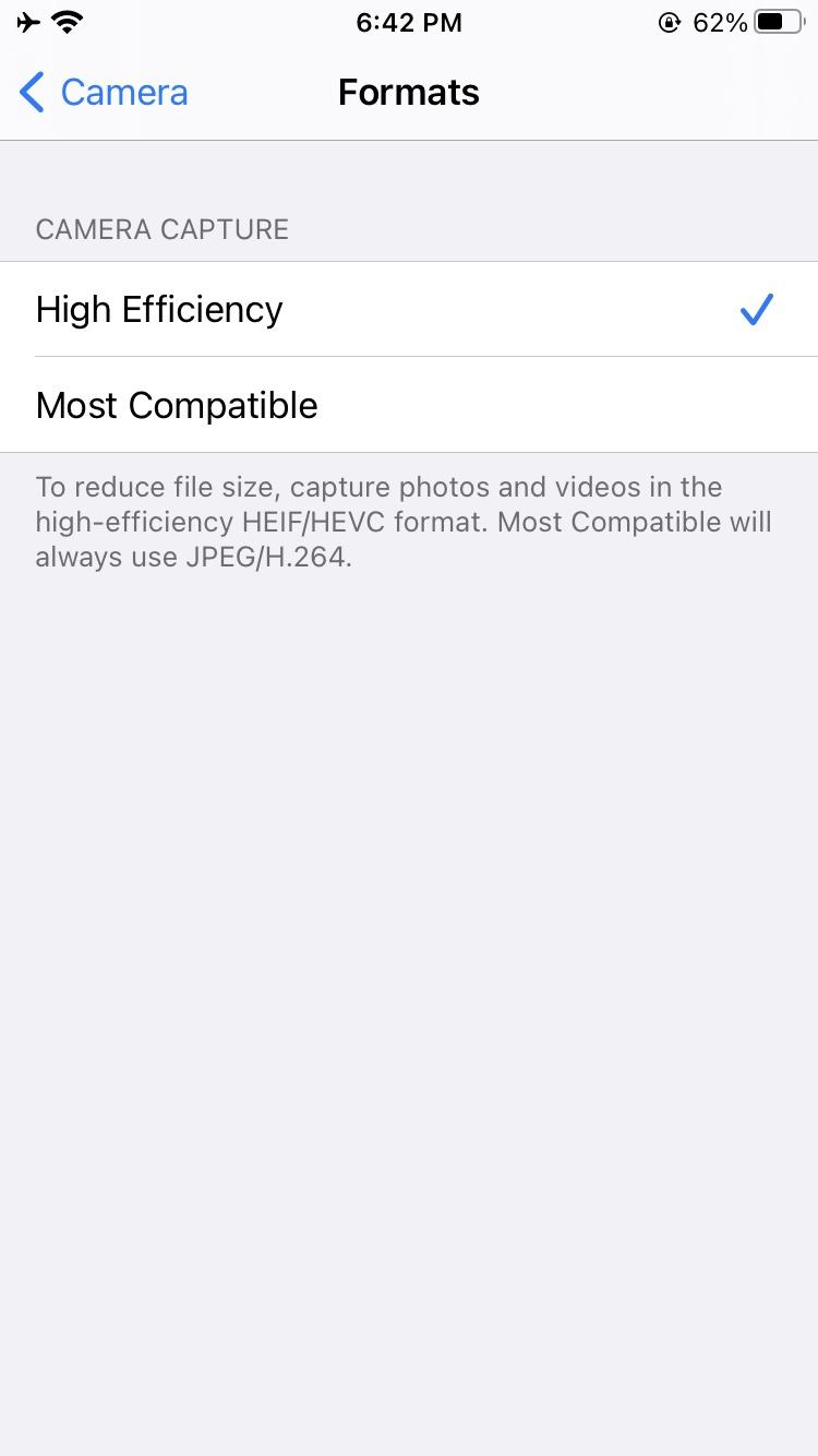 iPhone camera format