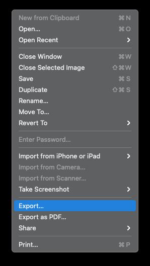 preview export mac