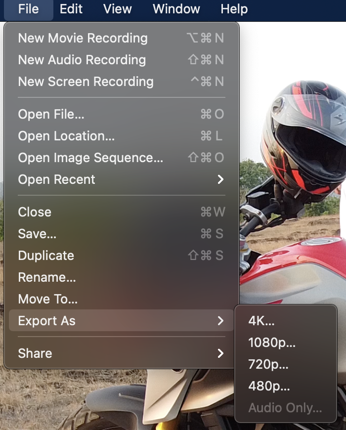 QuickTime reduce video file size