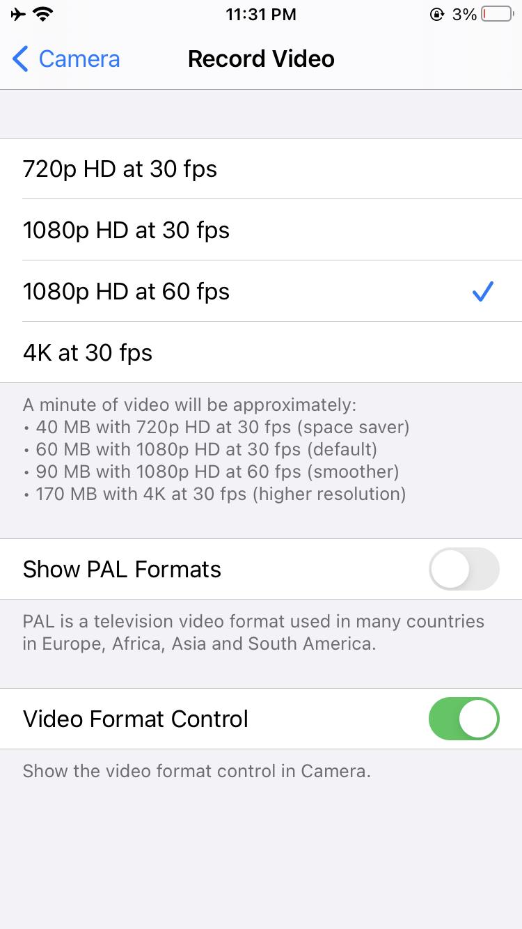 reduce camera resolution iPhone