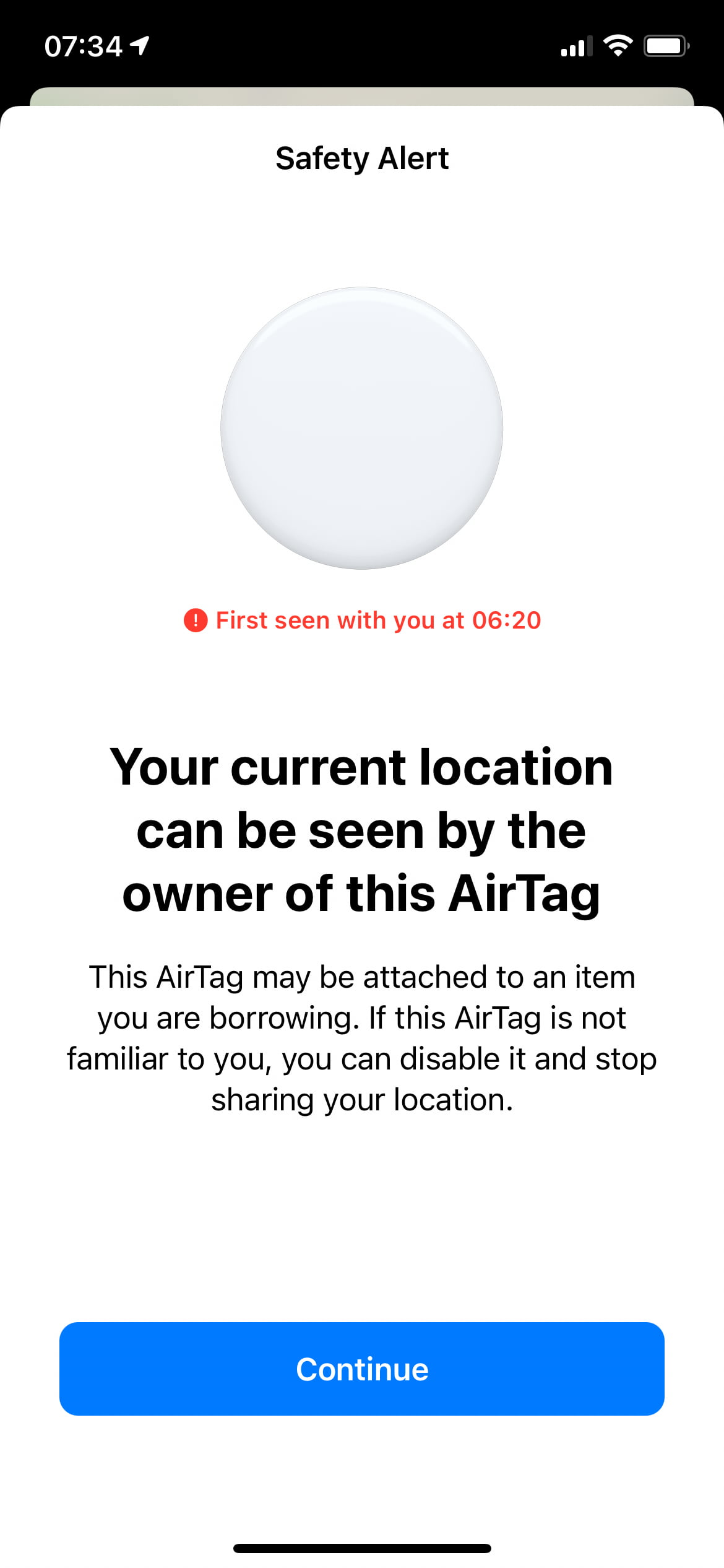 safety alert from AirTag