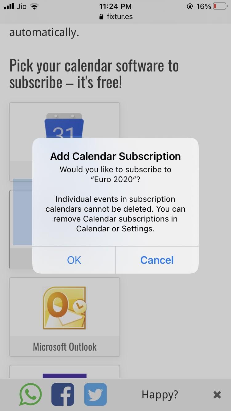 2020 Euro Cup Calendar iOS