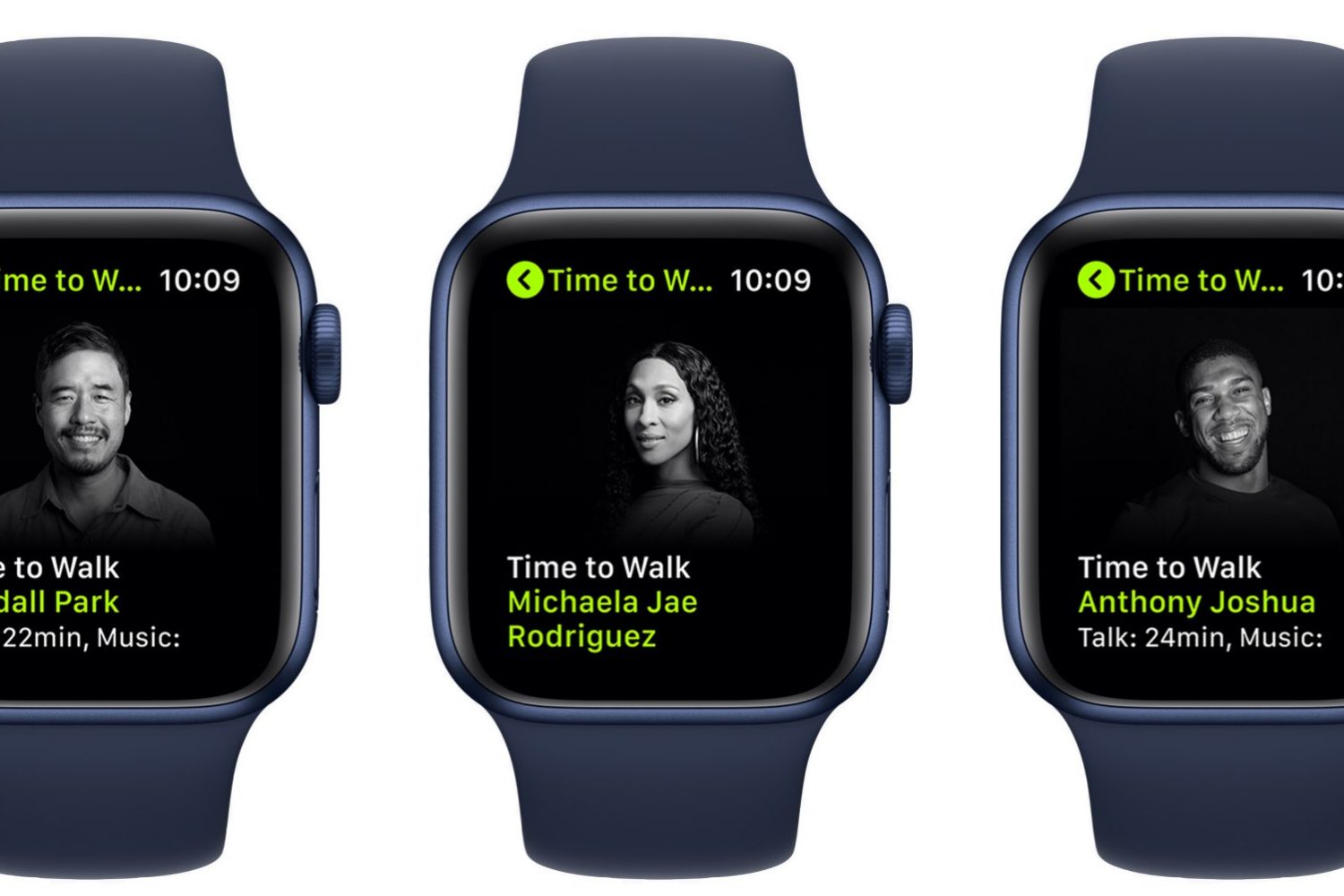 Promotional graphics showing the Time to Walk feature for Apple Fitness+ on Apple Watch