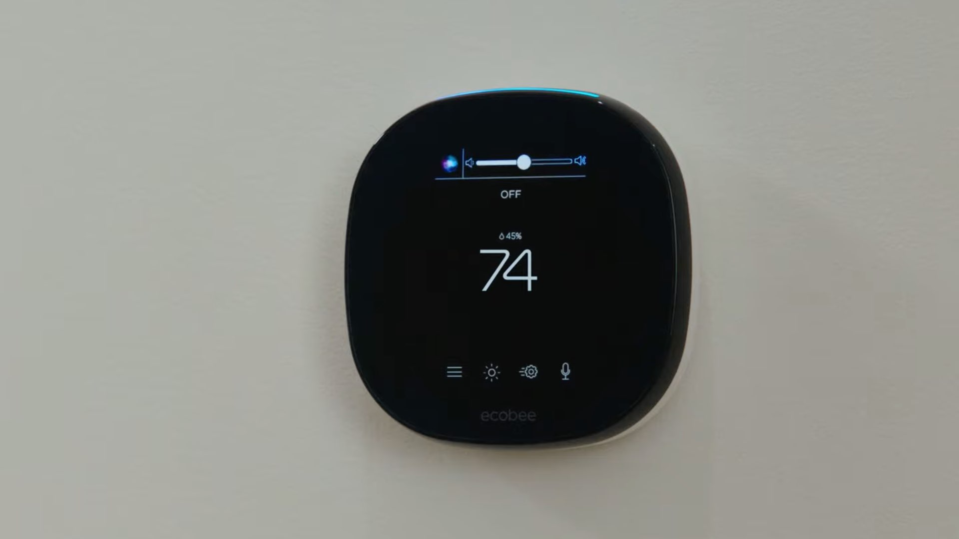 An image showing Ecobee Smart thermostat with Hey Siri orb shown on its display