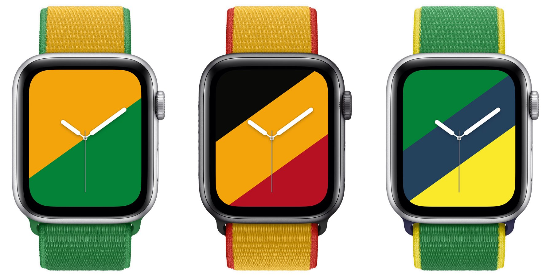 A promotional image provided by Apple showing a new International Collection bands for Australia, Belgium and Brazil on Apple Watch