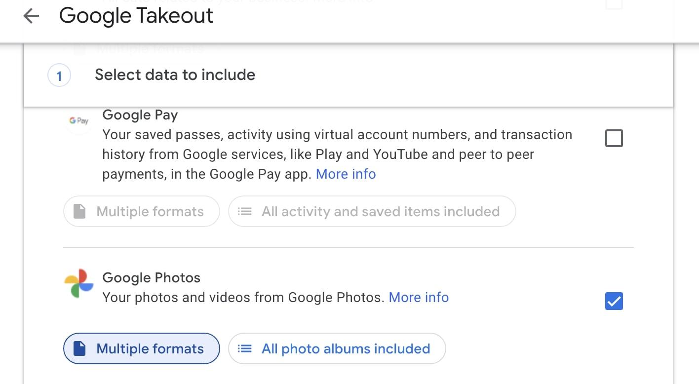 Download Google Photos Takeout