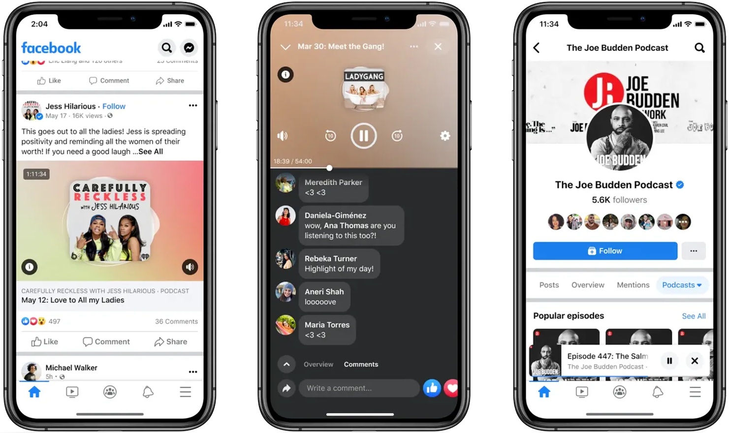 A screenshot showing three screens from Facebook Live Audio Rooms on iPhone