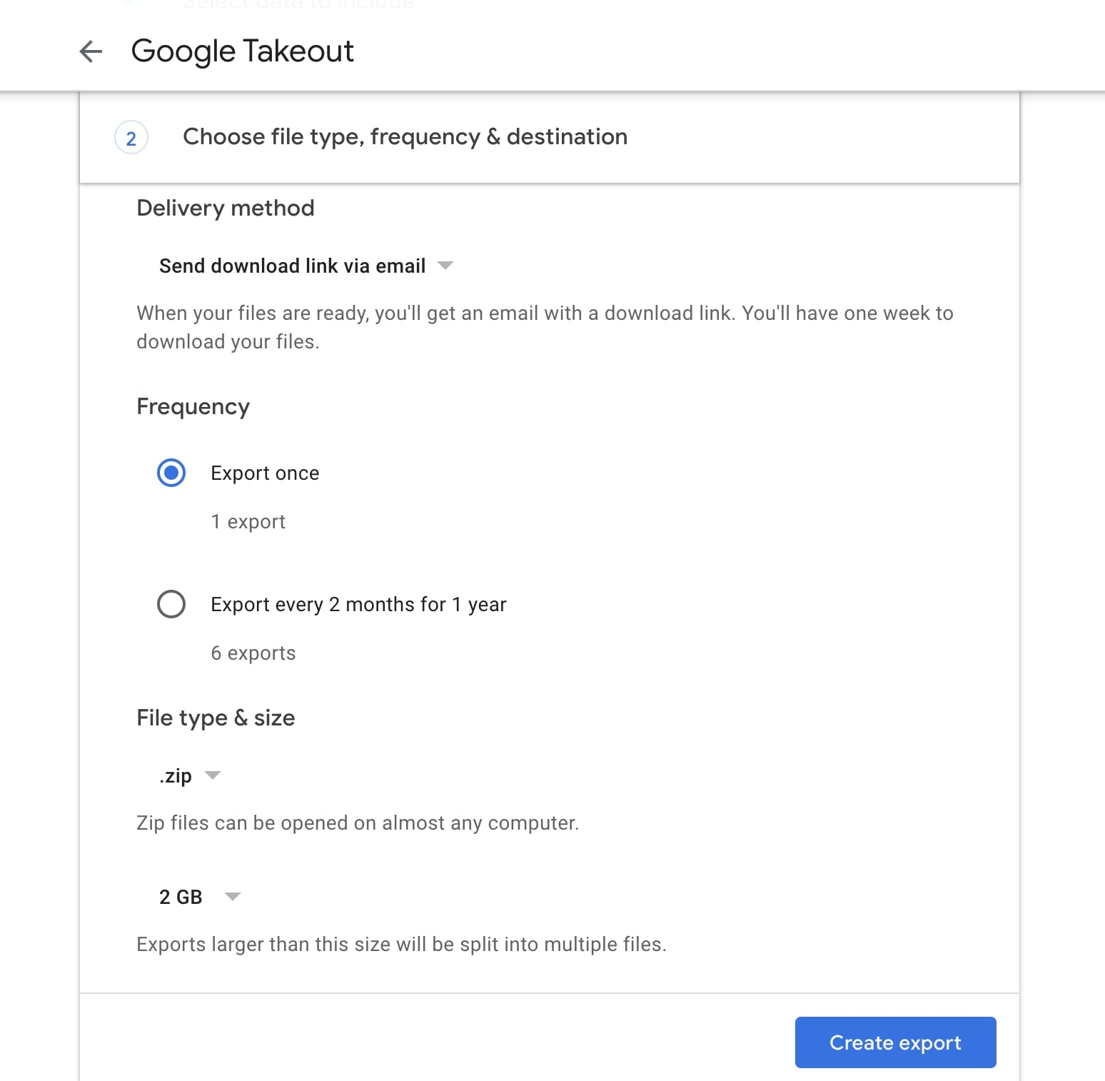 Google Takeout Create export