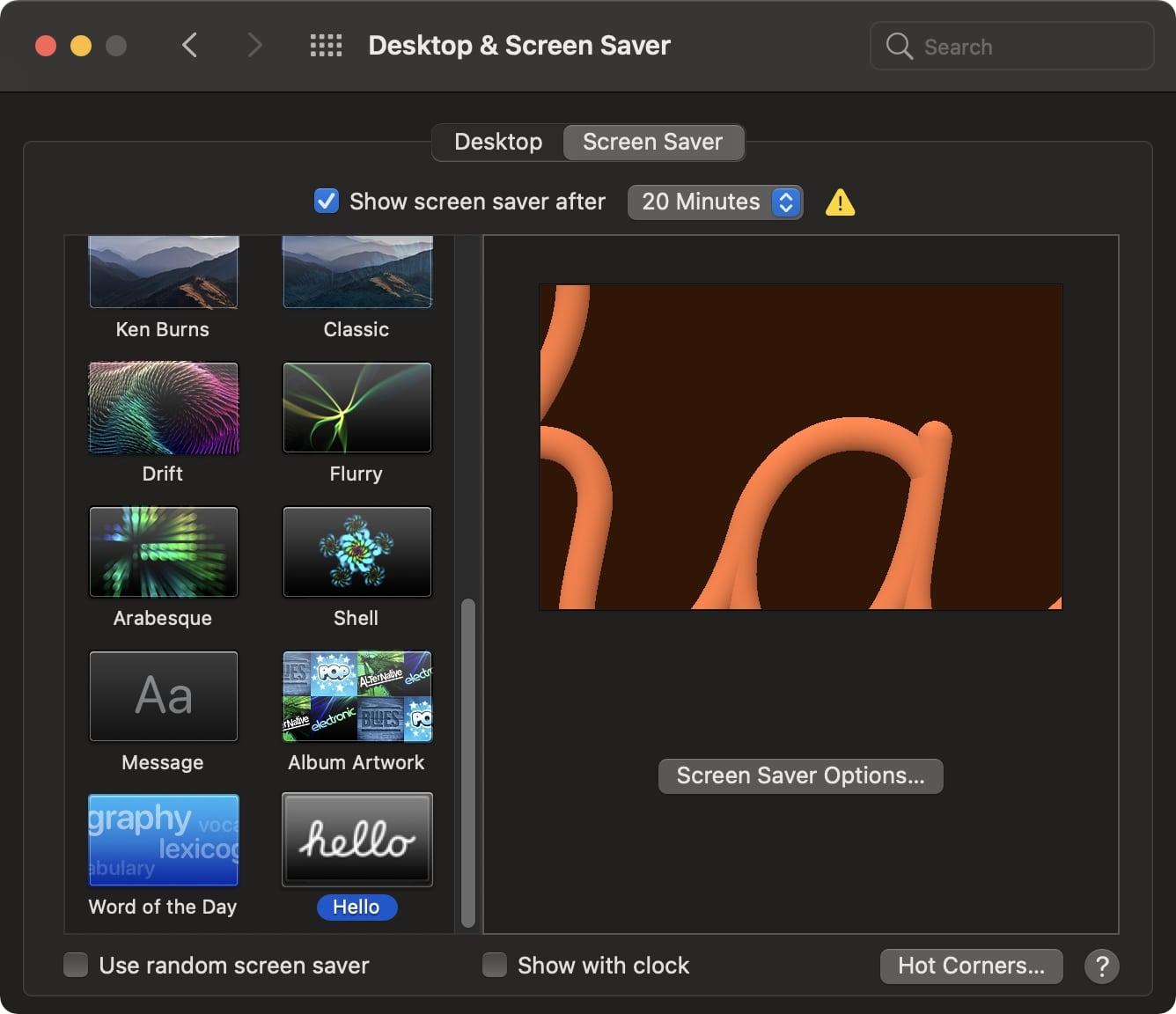 Hello screensaver macOS Big Sur