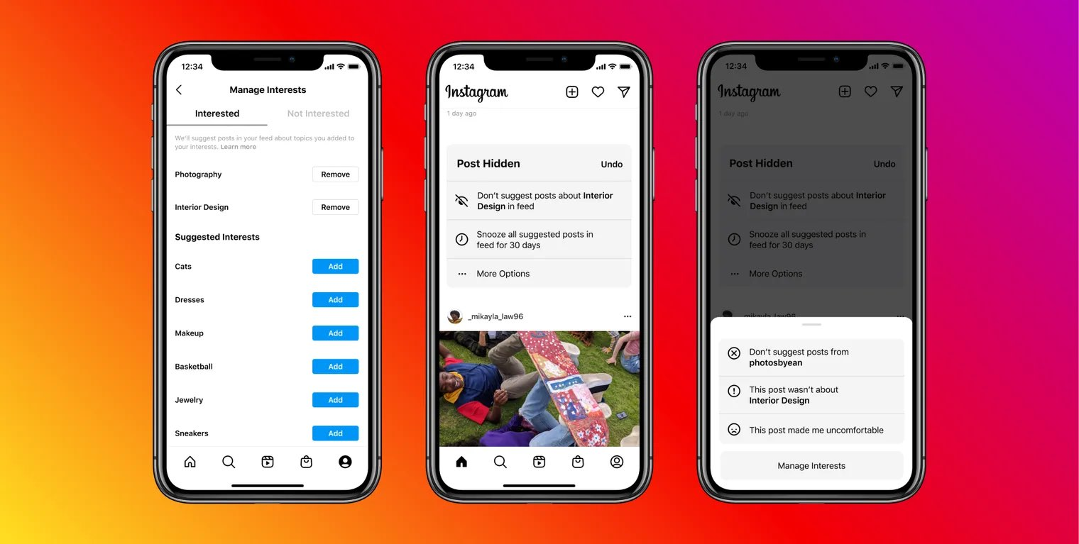 Promotional image showing suggested posts in the main Instagram feed on iPhone