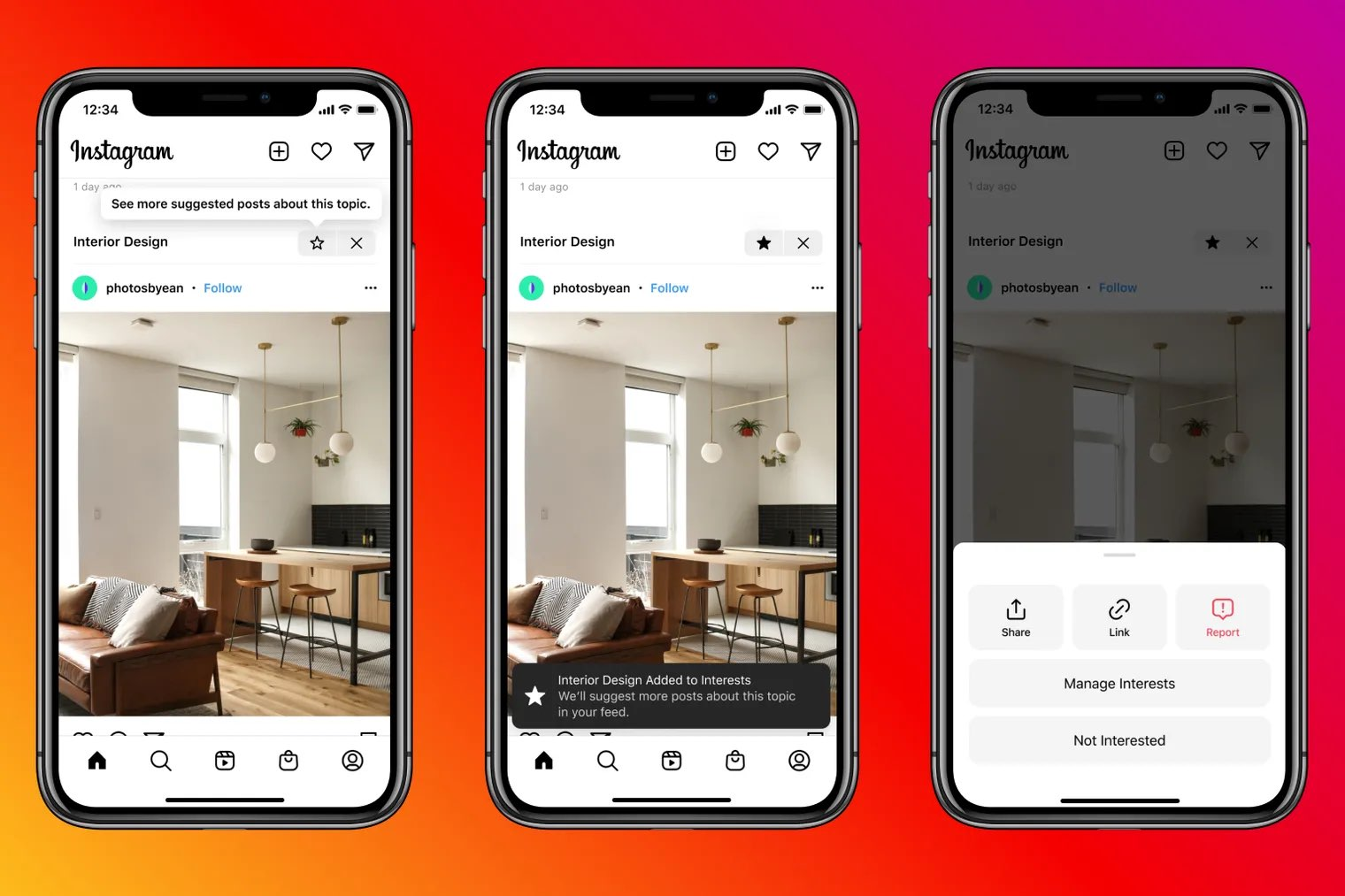 Promotional image showing controls to influence suggested posts in the main Instagram feed on iPhone