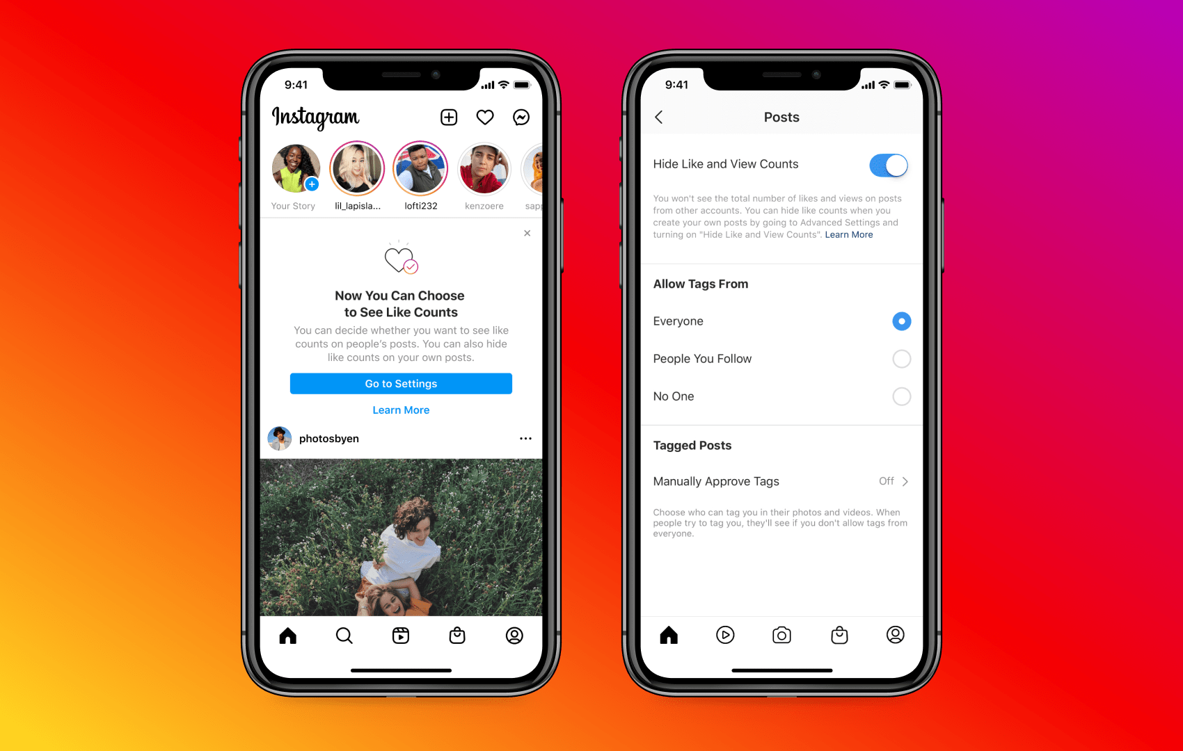 A promotional image from Instagram showing the option to hide like and view counts on posts from other accounts in the iPhone app
