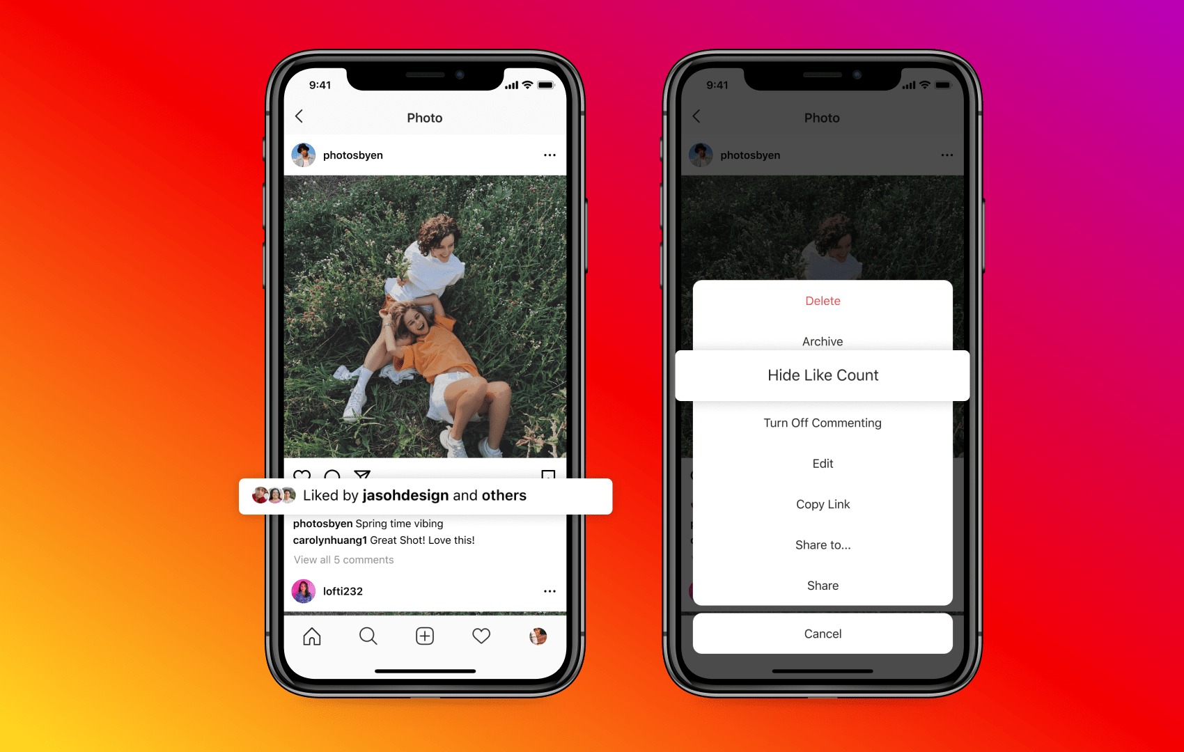 A promotional image from Instagram showing the Hide Like Count option for a user's own post in the iPhone app