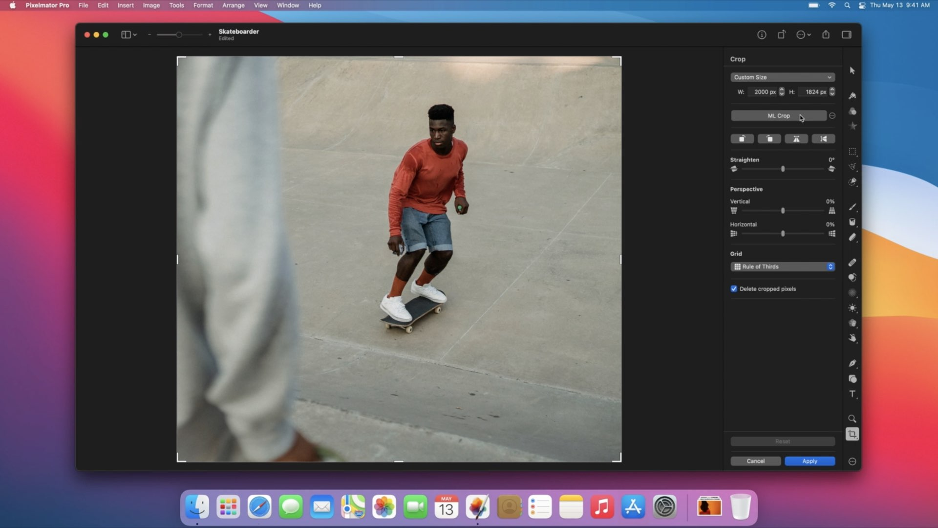 A still from the official video promoting the ML Crop feature in Pixelmator Pro 2.1 for Mac