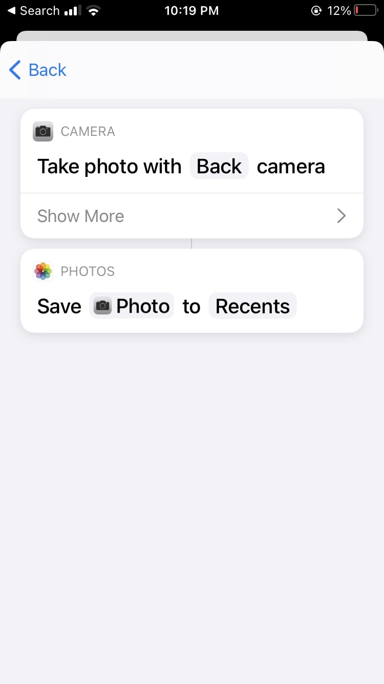 Say Cheese Shortcut Siri