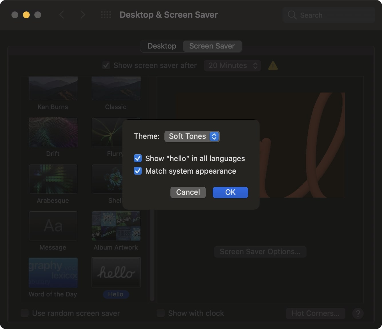 Screen saver options Hello