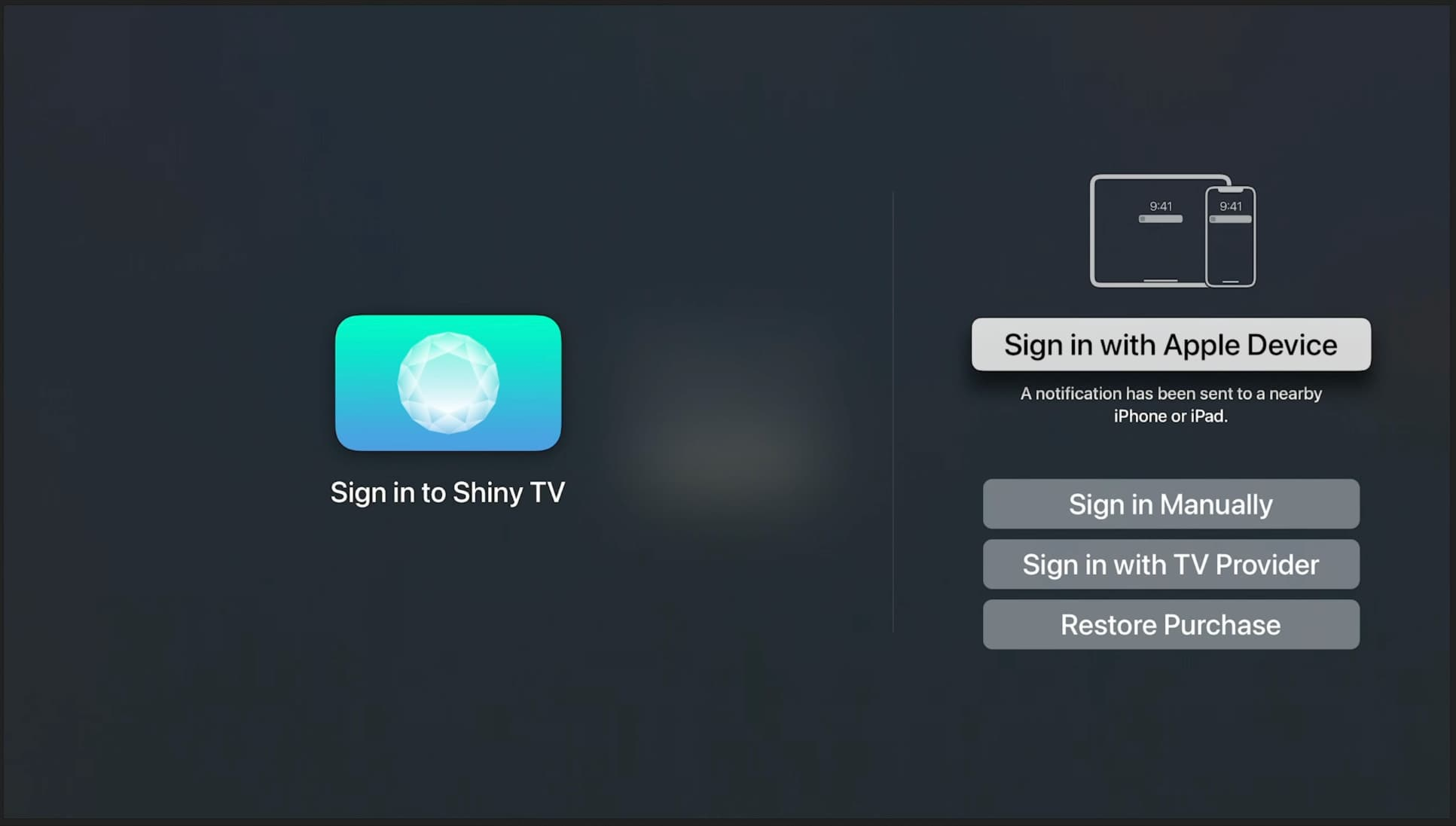 An Image showing the Sign in with Apple Device option highlighted on Apple TV