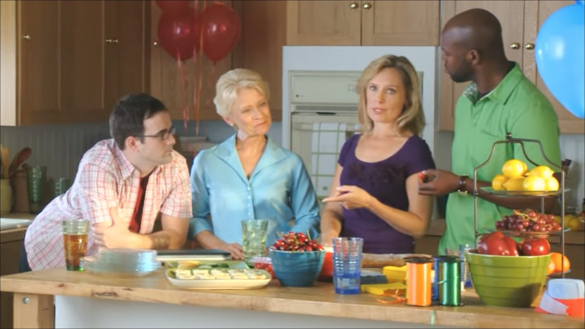A still from Microsoft's cringeworthy house party video promoting Windows 7 launch in 2013