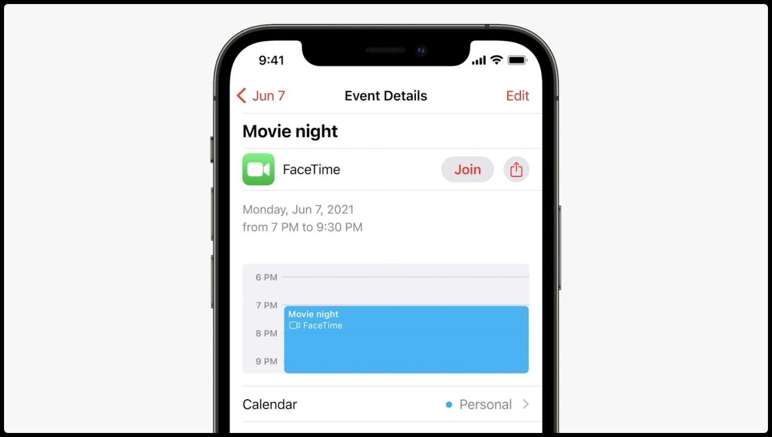 WWDC21 slide showing shareable FaceTime link in Apple Calendar