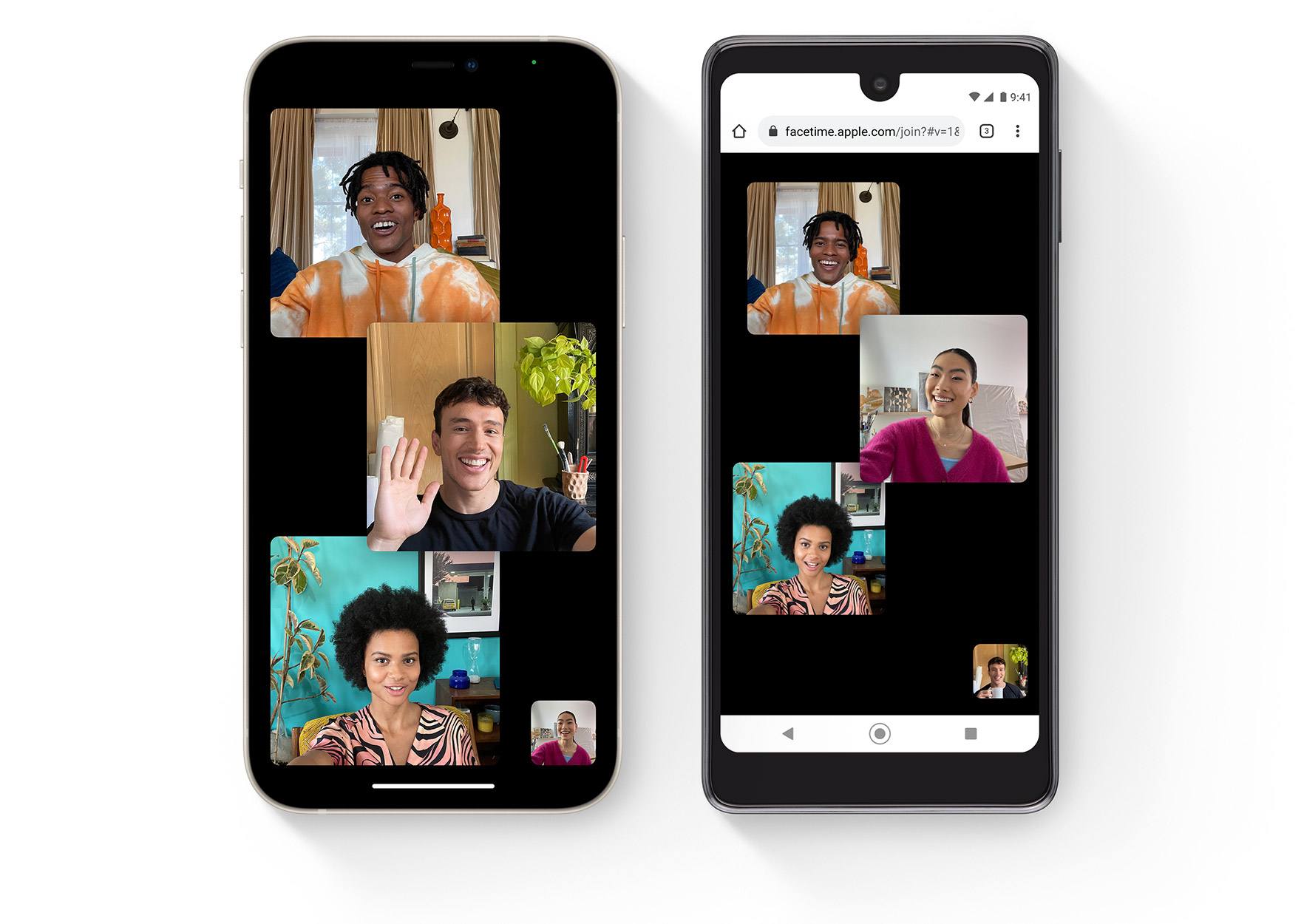 Apple website image showing iOS 15 FaceTime on iPhone and Android