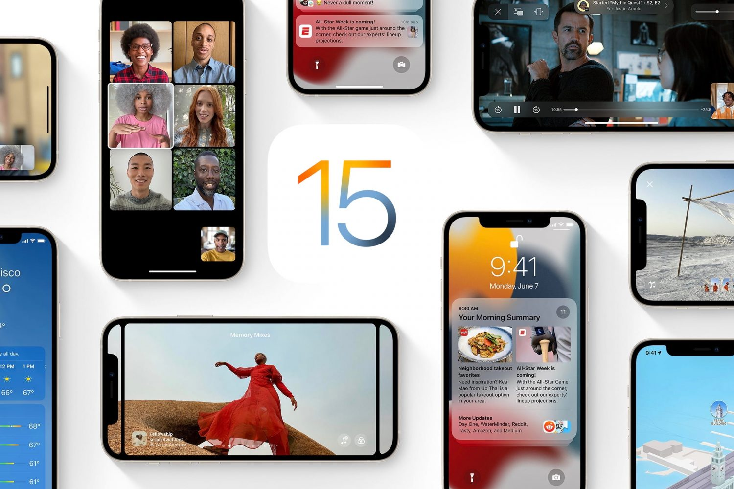 Apple's marketing image showing a bunch of iPhone and iPod touch devices showcasing various iOS 15 features