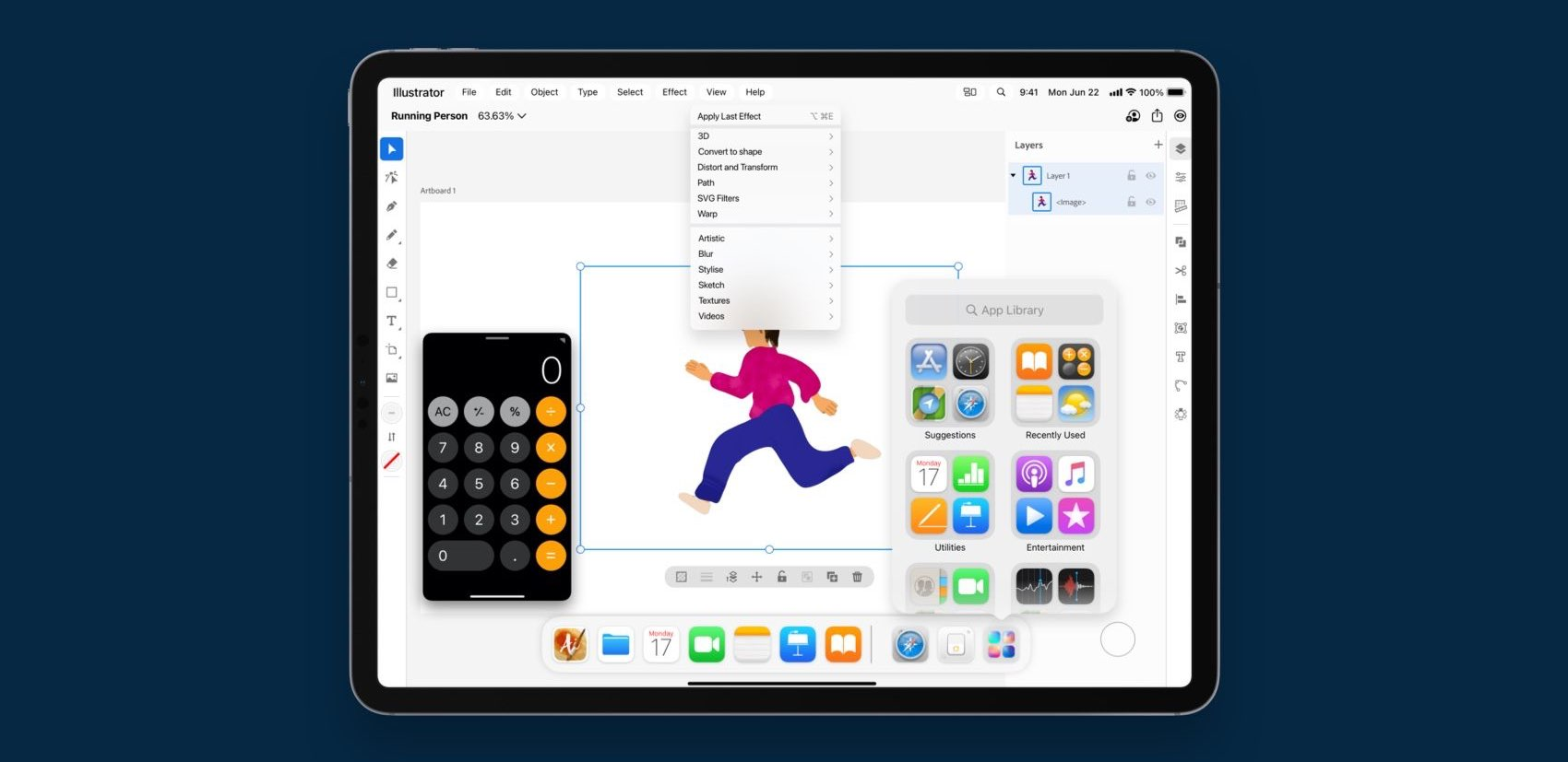 iPadOS multitasking concept by Vidit Bhargava envisioning floating windows for apps like Calculator on iPad