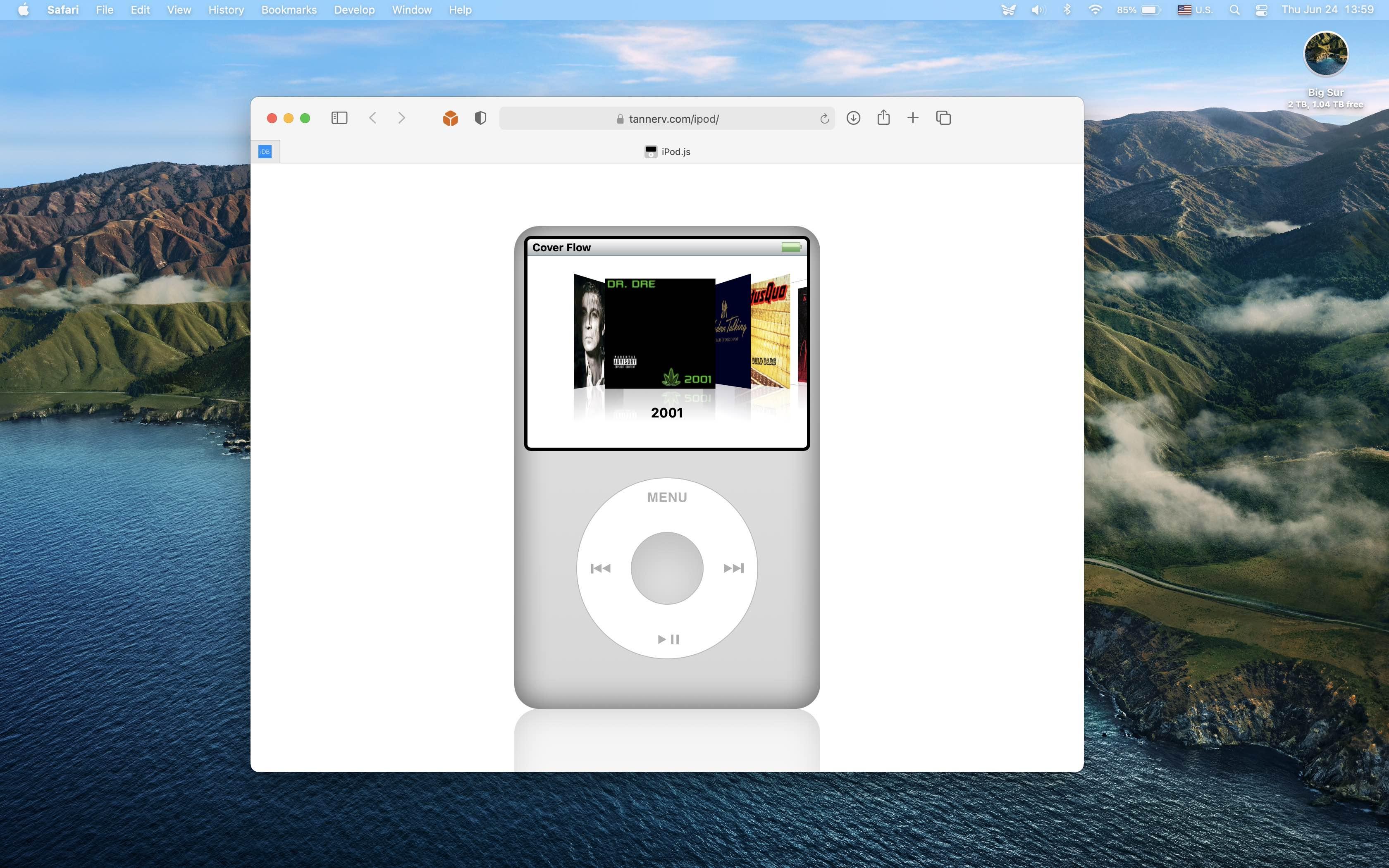 A Mac screenshot showing Tanner Villarete's web app that simulates the iPod classic interface running in Safari