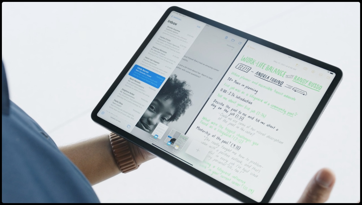 An image showing an iPad Pro with a new Shelf multitasking feature in iPadOS 15