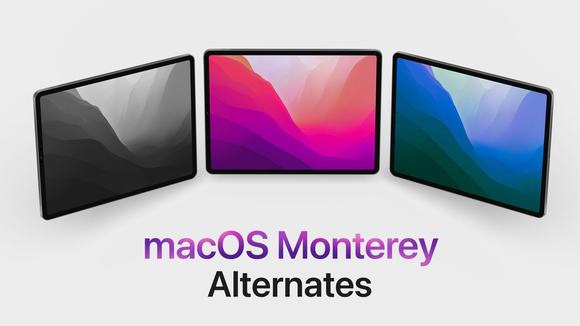 macOS Monterey wallpaper variations in light and dark mode