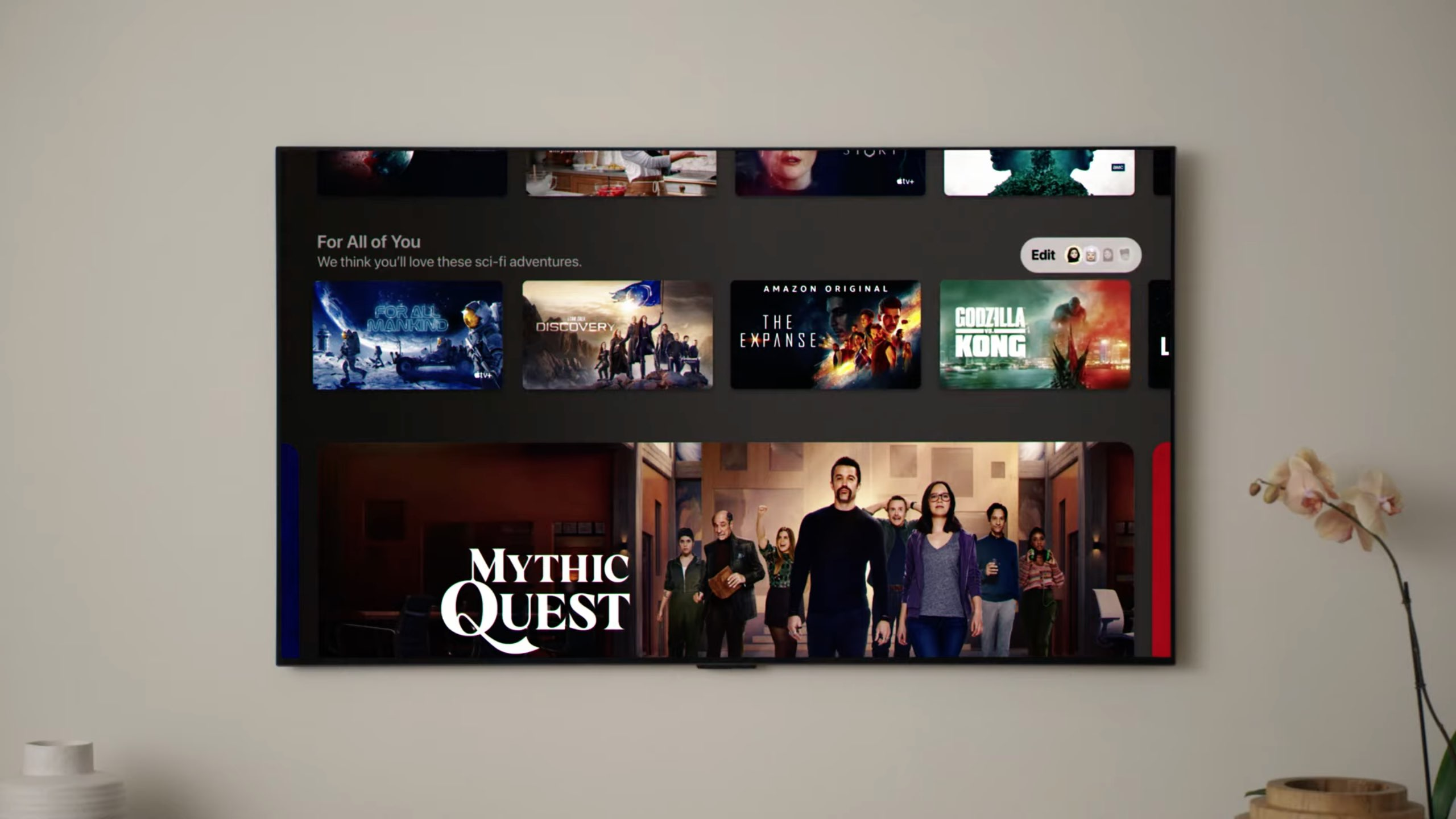 """An image showing the """"For all of You"""" section in the Apple TV app on tvOS 15"""