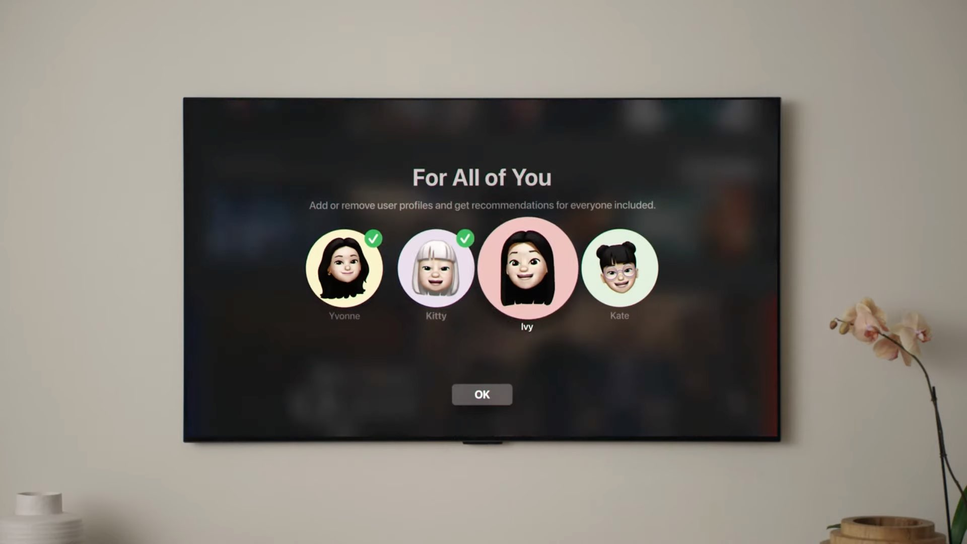 """An image showing the process of adding and removing individual Family Sharing members for the """"For all fo You"""" section in the Apple TV app on tvOS 15"""
